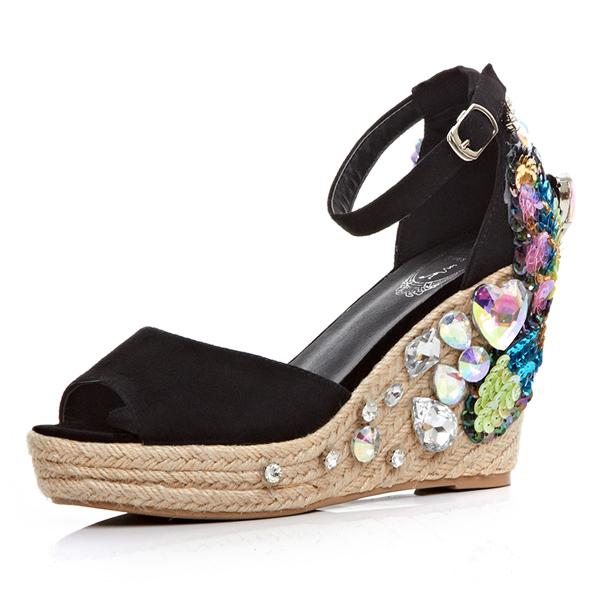 Фотография 2016 Bohemian summer women wedge flat thick muffin bottom sandals braid peep toe platform buckle rhinestone glitter sandal shoes