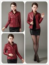 2016 Leather Jacket Women Clothing Female Short Sheepskin Design Slim Outerwear Women Leather Jacket Plus Size 5XL(China (Mainland))
