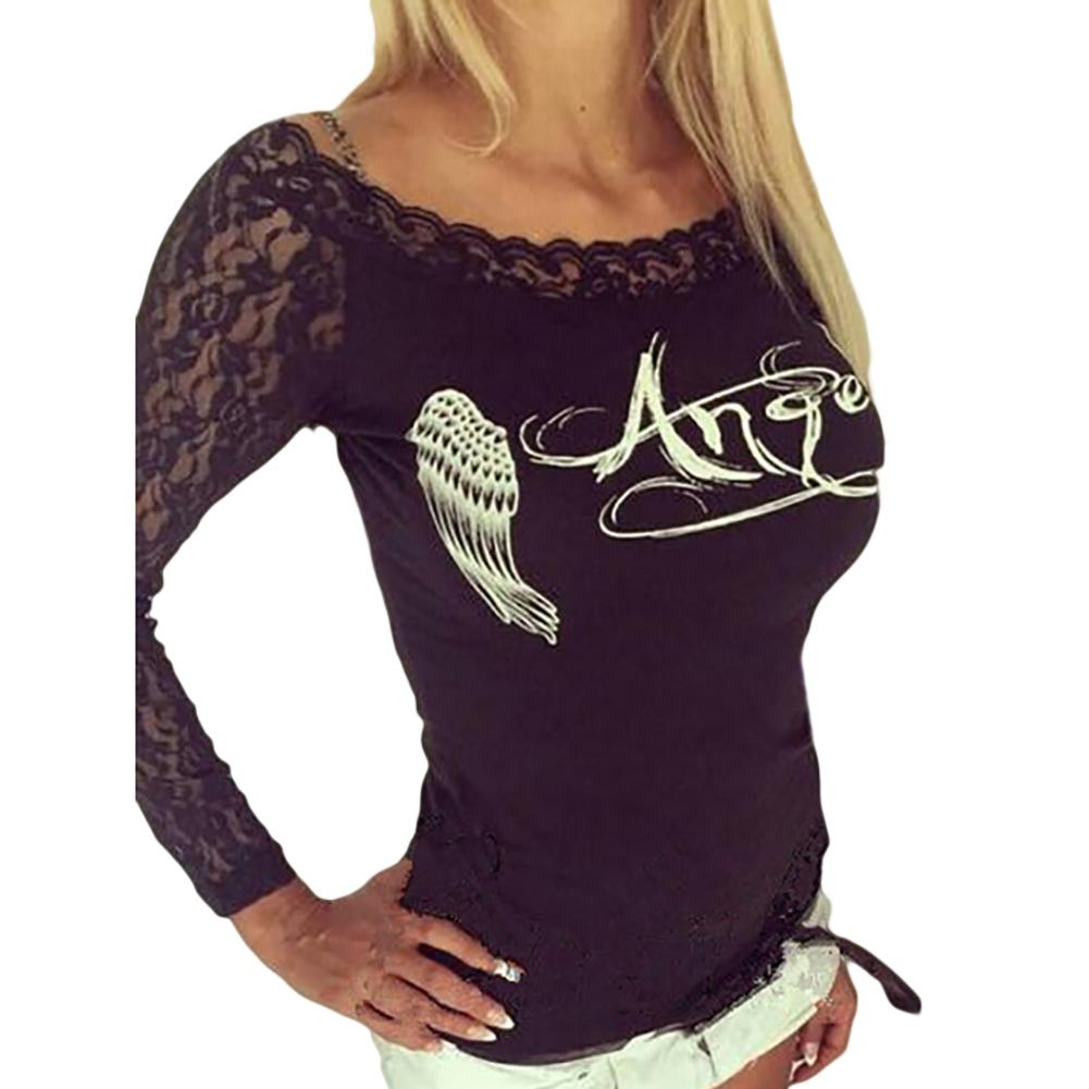 Women's  Back Hollow Angel Wings T-shirt Tops Summer Style Woman Lace Short Sleeve Tops