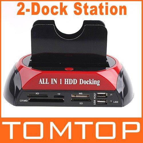 "2.5"" 3.5"" SATA / IDE 2  Double - Dock HDD Docking Station e- SATA / Hub External Storage Enclosure Parts , Free / Drop  Shipping"
