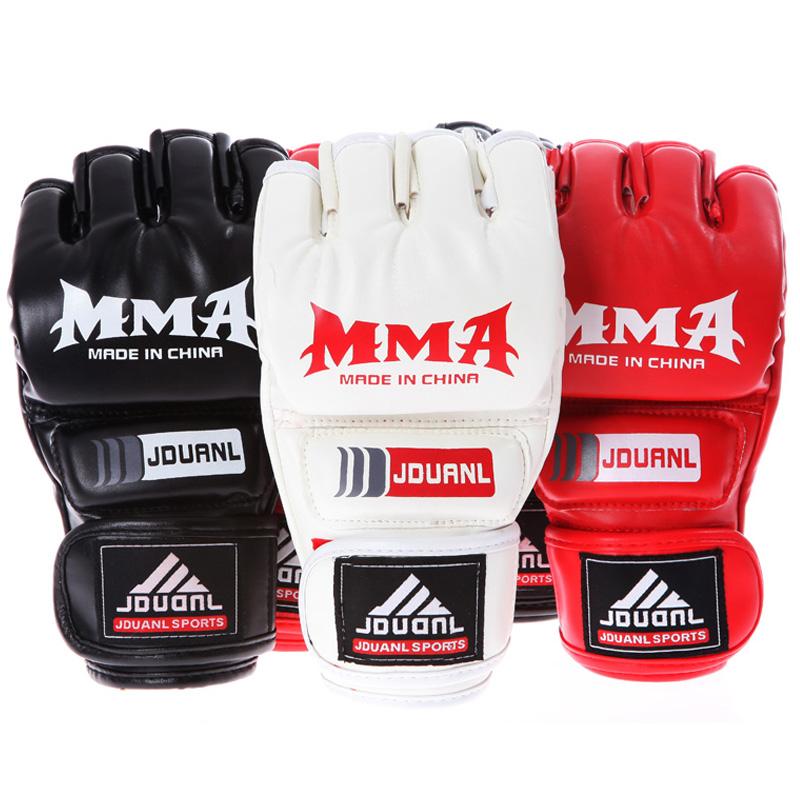 MMA boxing gloves PU muay thai karate kick boxing Half-finger glove Sanshou fighting training boxing gloves(China (Mainland))