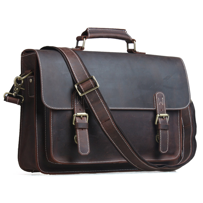 Men Briefcase Fit for 14 inch Laptop Multi-function Vintage Cowhide High Quality Genuine Leather Business Bag # PR091099(China (Mainland))