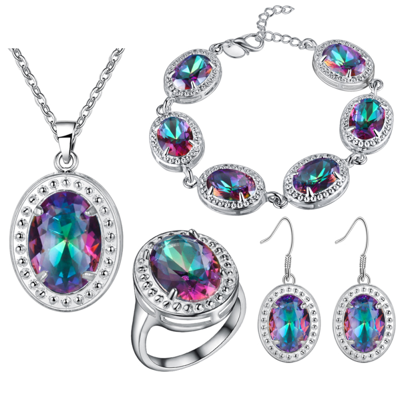 new sapphire 925 sterling silver jewelry sets wedding