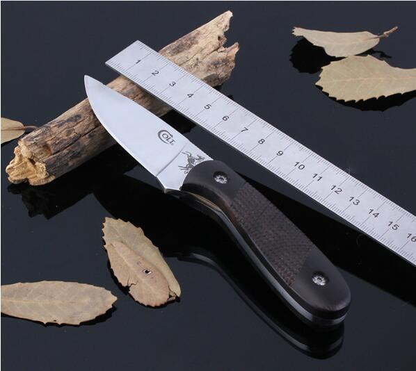Buy Free shipping Stainless Steel Fixed Knife Hunting Knife Outdoor Tool Camping Small fixed blade Knife Color Wood Handle Knives S9 cheap