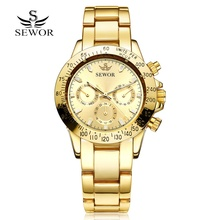 SEWOR Sport Men Steel Watch Clock Fashion Mechanical Automatic Wristwatch Men Famous Design Luxury Business Gold Watches(China (Mainland))