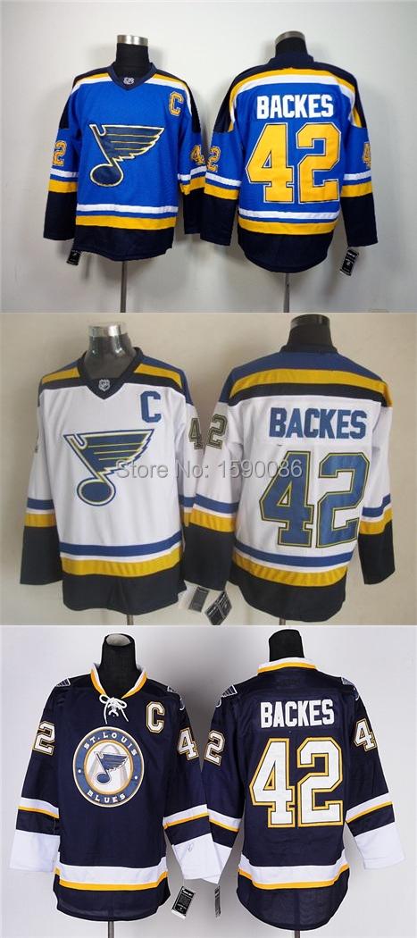 Authentic 2015 St.louis Blues Jerseys David Backes Jersey #42 Wholesale St. Louis Blues Cheap Ice Hockey Jerseys China(China (Mainland))