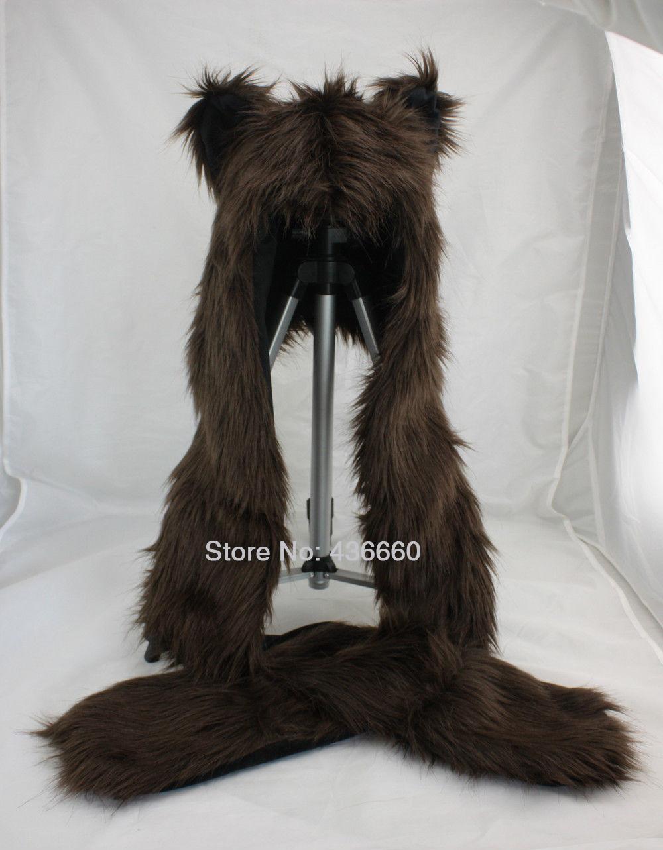 Faux Fur Full Brown Bear Animals Hood Hat Long Cap 3 in 1 Function Stuffed Plush(China (Mainland))