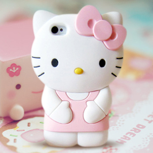 New 2014 fashion 3D Soft Silicon hellokitty Case For iPhone 4 4s 5 5s 5G cute Bowknot Hello kitty rubber cover Free Shipping(China (Mainland))