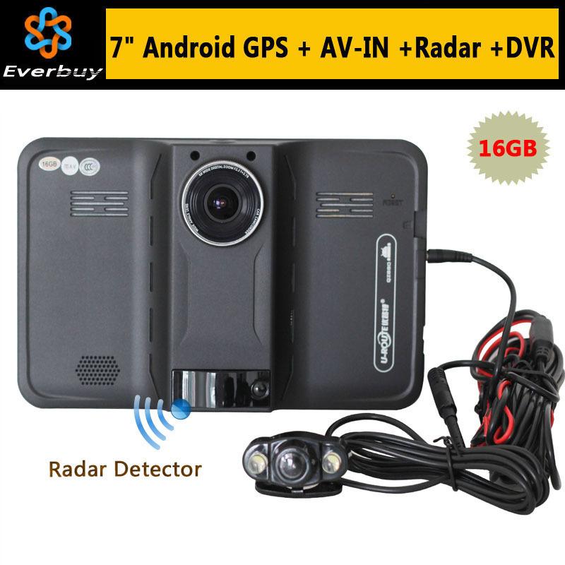 2015 New 7 inch Android GPS Navigation rear view Car Radar Detector Car DVR 1080P Truck vehicle gps Navi AVIN/FM/Free map 16GB(China (Mainland))