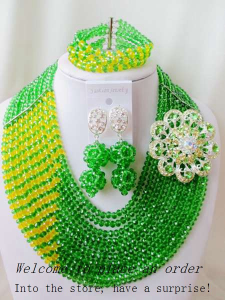 2015 Fashion Green african crystal beads necklace set nigerian wedding african beads jewelry set Free shipping P-r351<br><br>Aliexpress