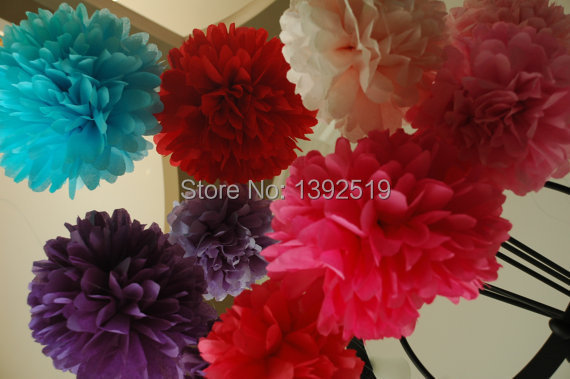 Free Shipping 100pcs Tissue Pom Pom Mix Sizes Baby shower Back to school College Dorm Decorations tissue Paper Pom Poms(China (Mainland))
