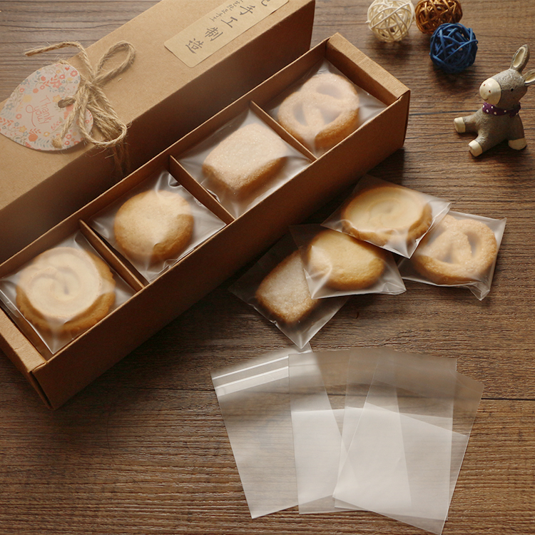 100pcs/lot 10cm*10cm+3cm Plain Scrub Plastic Cookie Bag,Heat Seal Cellophane For Biscuits Snack Baking Bakery Gift Packaging(China (Mainland))