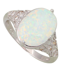 Fashion Opal rings Fina Jewelry Women's rings White Fire Opal 925 Sterling Silver Overlay size 5 6 7 8 9 10 R106(China (Mainland))