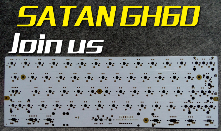 Satan GH60 PCB White Board Flashed Firmware DIY Mechanical Keyboard Poker 2 Pure HHKB with Diode Resistance Support LED(China (Mainland))