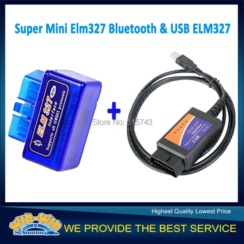 2 Items / Pack ELM327 Bluetooth + ELM327 USB ELM327 OBD-II OBD2 V2.1 Code Reader Free shipping