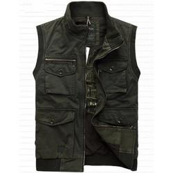 100% Cotton Denim New 2015 Autumn Spring Men Vest Casual Military Waistcoat Jacket Vests Brand Big Size L-4XL A2996