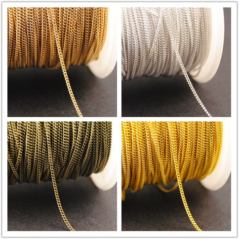 New factory price 10 Meters 1mm 4 Colors Finsh Metal Brass Curb Chain Necklace Jewelry Findings in Bulk(China (Mainland))