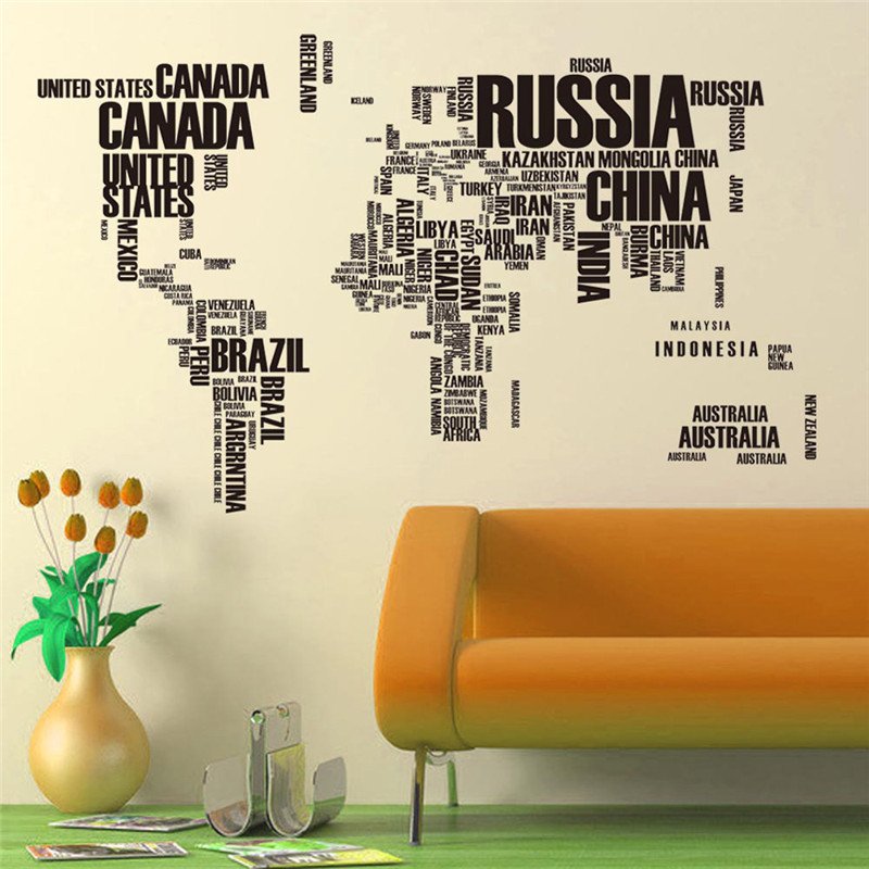 Vintage Large Poster Letter World Map Home Decoration Detailed Teaching Wall Chart Paper Natural Rubber Maps(China (Mainland))