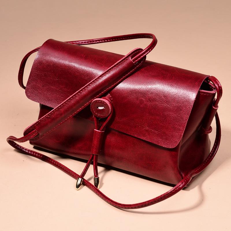 Гаджет  2015 vintage two-color wax cowhide brief formal small bag one shoulder cross-body bag handmade None Камера и Сумки