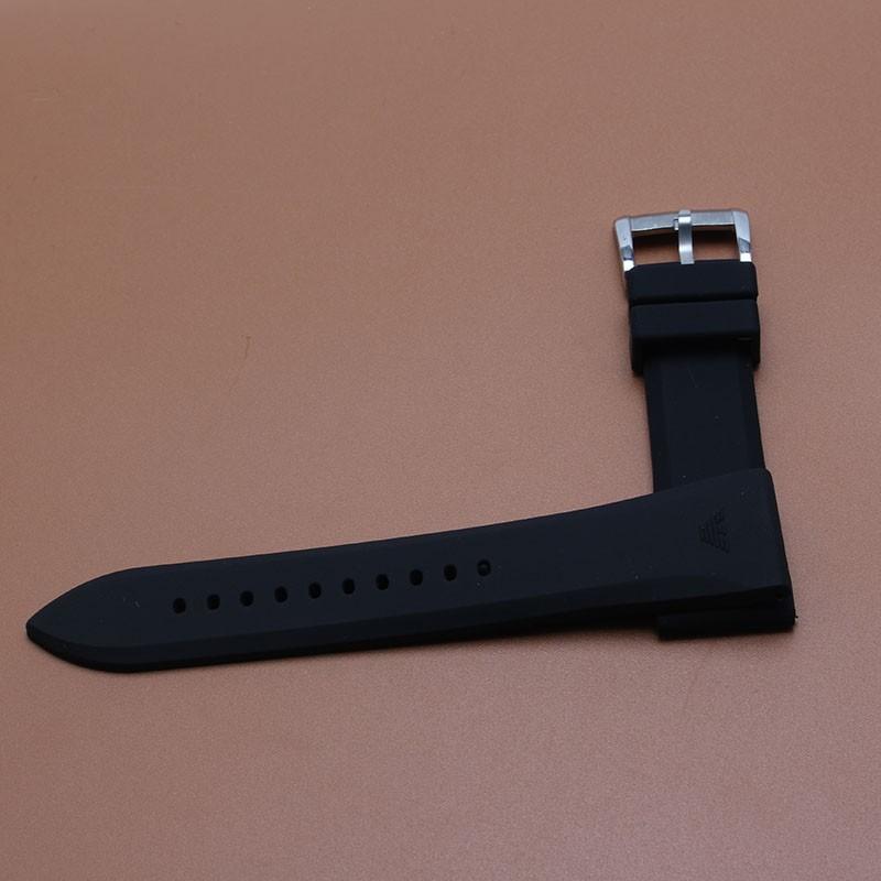 Ман Ремешок Для Часов 23 мм черный мягкий резиновый ремешок браслет аксессуары серебро нержавеющая сталь пряжка развертывания