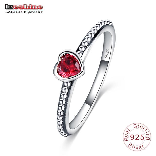 Lzeshine 2016 новых 3 цветов 100% 925 серебряное кольцо в форме сердца любовь романтический ...