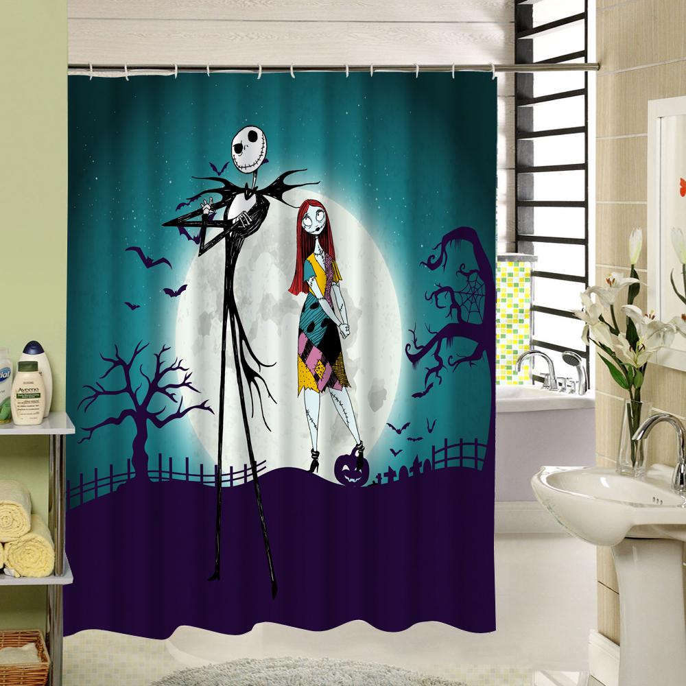 2018 waterproof halloween shower curtain nightmare before christmas ghost skeleton castle style. Black Bedroom Furniture Sets. Home Design Ideas