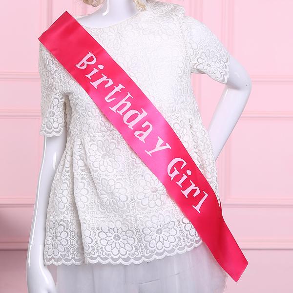 New fashion birthday girl Sash glitter printing ribbon happy birthday party favors events supplies decoration girls accessories(China (Mainland))