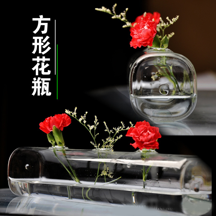 Simple glass vase transparent long rectangular barrel ornaments home accessories(China (Mainland))