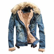 Luxury ,Man Casual Slim Fit Denim Jeans Men Winter Denim Jacket Men Clothing Jean Coat outwear Fur Collar men's coat jackets(China (Mainland))
