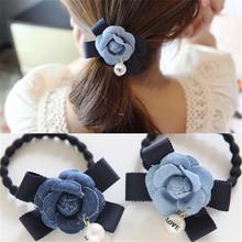 Korean Fashion Ponytail Holder Elastic Hair Bands Telephone Cord Hair Tie Girls Hair Accessories Women Fabric Flower Hair Bands