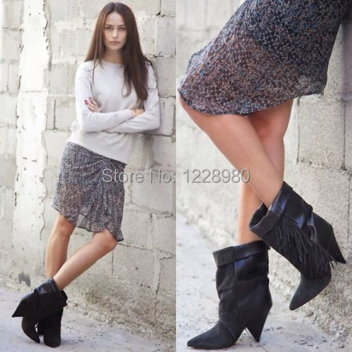 Autumn Boots Women Genuine Leather Tassel Ankle Boots Suede High Heel Shoes Women(China (Mainland))