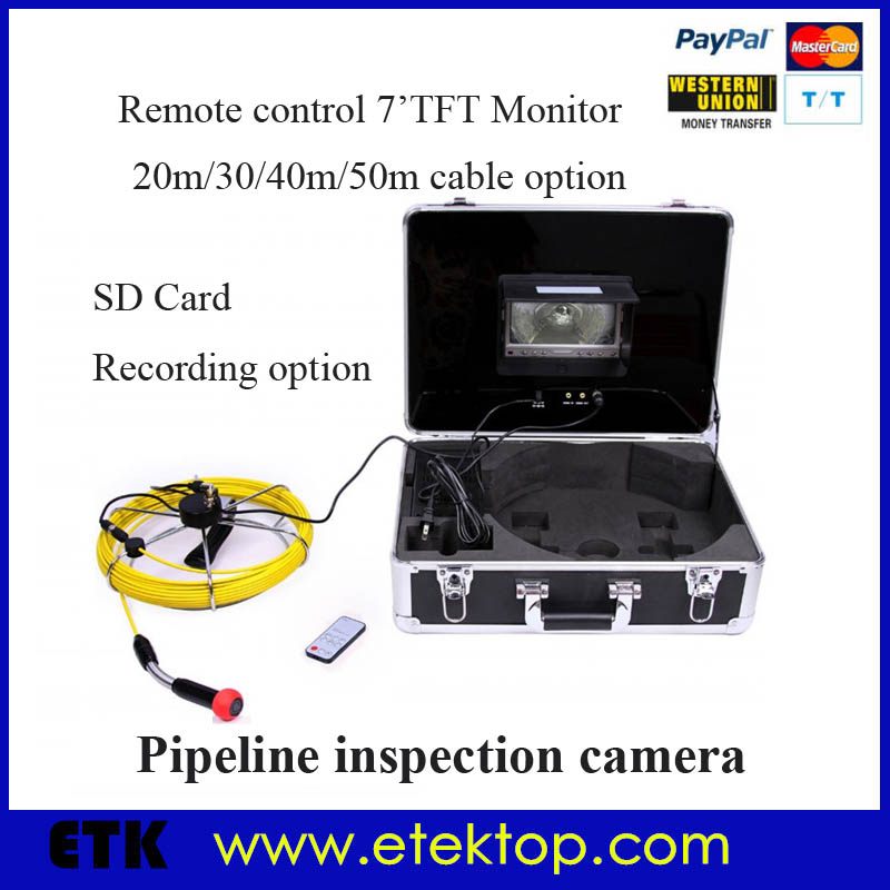 50m Cable Endoscope Borescope Snake Video Inspection Camera For Pipe Sewer Drain Chimney,Remote Control,7''LCD,Sharp CCD Camera(China (Mainland))