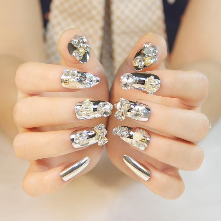 Silver glitter false nails art decoration,daily wear ladies false nails art ornament,4.18565.Free shipping(China (Mainland))