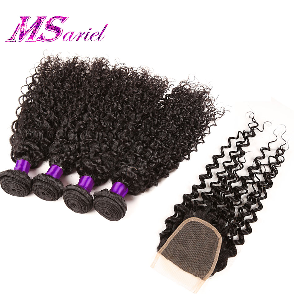 Unprocessed Virgin Curly Hair With Closure Malaysian Kinky Curly Virgin Hair 4 Bundles With Closure 7a Sew Human Hair Weave <br><br>Aliexpress