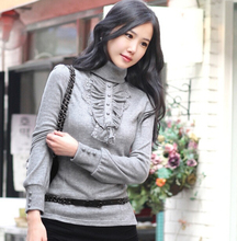 New Turtleneck Ruffles Cotton Knitted Pullover Plus Size Casual Slim Pullover  For Women 2014 Autumn Winter sweater S-4XL 9678(China (Mainland))