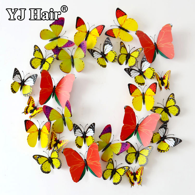 2015 New 12pcs/bag 3D Butterfly Wall Stickers Butterflies Decors For Home Fridage Wall Room Decoration Gossip Girl Same Style(China (Mainland))