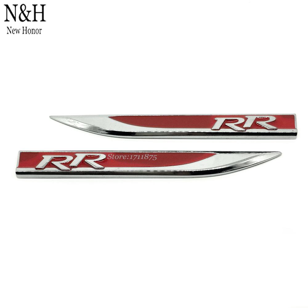 Emblem Decal Sticker Fender Side Metal Stickers R R RR Logo Rear Engine Rear Wheel Drive For VW Smart 911 BMW Kia Car Styling(China (Mainland))