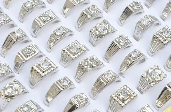 Wholesale Jewelry Lots 20pcs Clear white CZ Platinum P Mens Rings free shipping [MR02*20]<br><br>Aliexpress