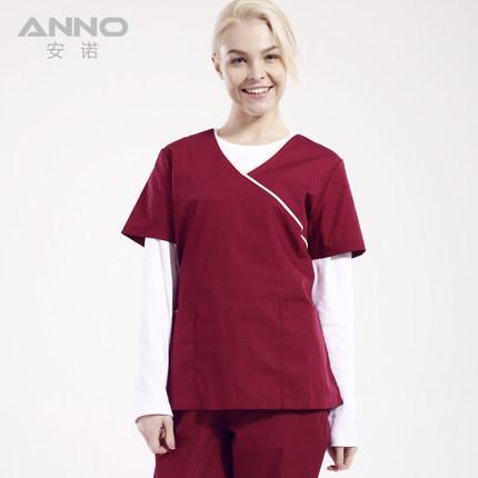 Top Medical scrubs set female nurse wine uniform short sleeve cotton working split scrub surgical operation overalls clothing(China (Mainland))