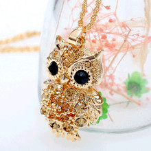 Hot Women's Fashion lovely Jewelry Retro Charm Crystal Gem Cubic Zircon Rhinestone Golden Owl Long Chain Necklaces&Pendants