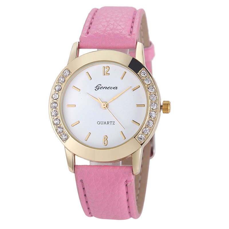 Гаджет  Best Selling, Montre Watch Women Dress Casual Watches Fashion Geneva Crystal Hour Leather Quartz Wrist Watch Girl Bracelet Reloj None Часы