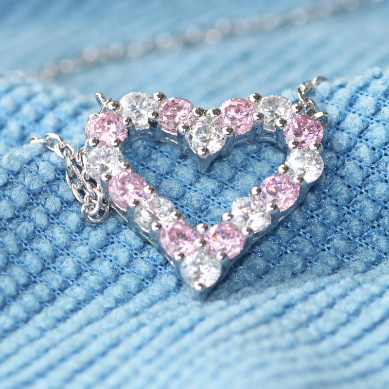 1.6ct Luxury Quality Pink And White NSCD Simulated Diamond Jewelry 925 Sterling Silver Heart Shaped Pendant Necklace<br><br>Aliexpress