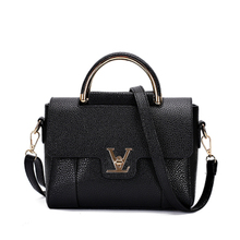 Hot Flap V Women's Luxury Leather Black Clutch Bag Ladies Handbags Brand Women Messenger Bags Sac A Main Femme 2016 Short Handle(China (Mainland))