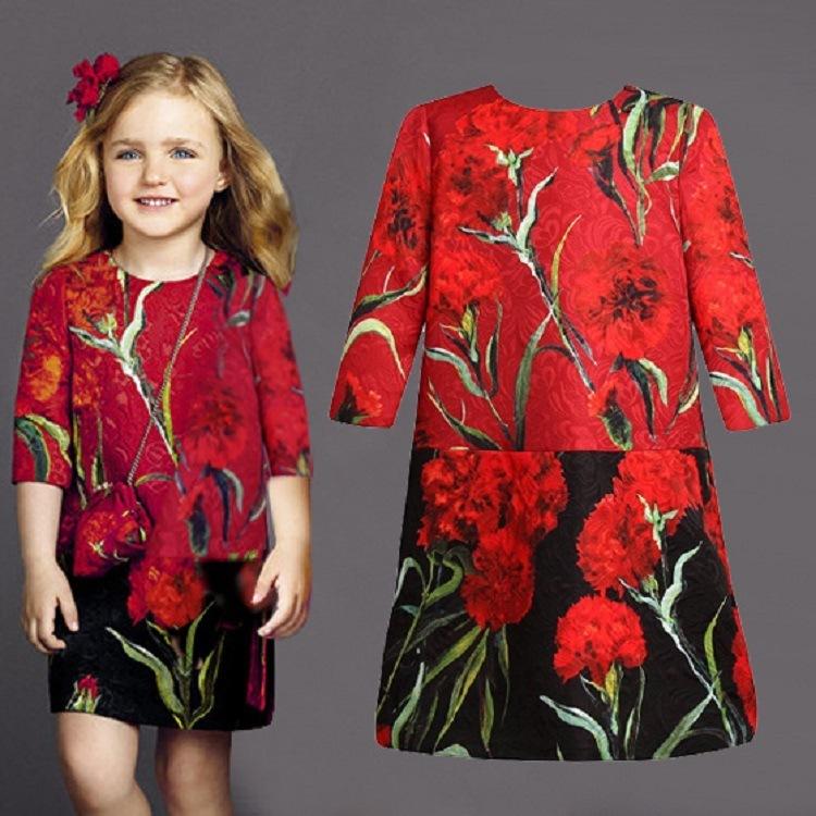 High Quality Luxury 2016 Summer Girls Dress Brand Designer Kids Clothes Pattern Toddler Girl Clothing Princess Dress 3-10Y(China (Mainland))