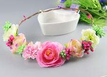 2016 Bridal Flower Headpiece Wedding Hair Accessories Floral Crown Boho Halo Artificial Rose Flower Crown Headband