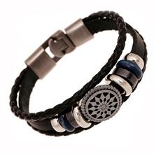 Handmade braided charm Genuine Leather bracelet men fashion vintage engraved bracelets bangles korean jewelry pulseira masculina