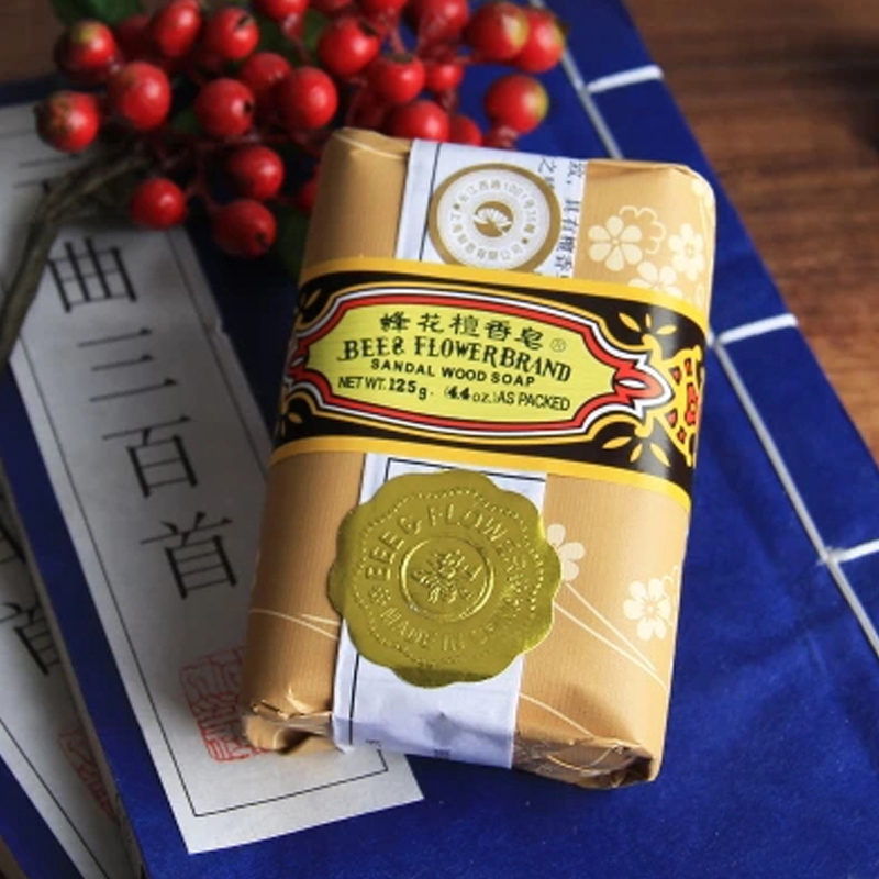 2016 New Health Care Shanghai bee flower sandalwood soap oil-control Soap For Face & Body125g A2(China (Mainland))