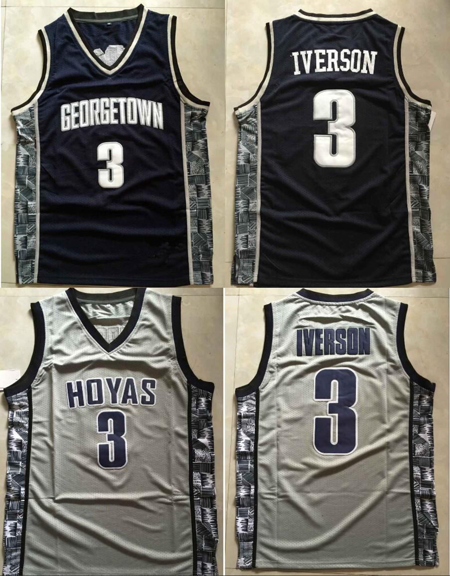 Sale Allen Iverson jersey Georgetown Hoyas NCAA College Basketball Jerseys Allen Iverson 2015 New Throwback Retro Jersey Shirt(China (Mainland))