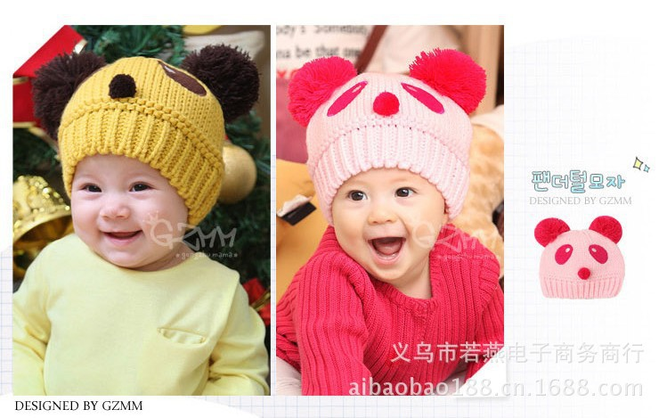 2015 New Novelty Autumn Winter Unisex Children Lovely Character Panda Modeling Baby Hat , Knitting Ear Muff Cap Free Shipping(China (Mainland))
