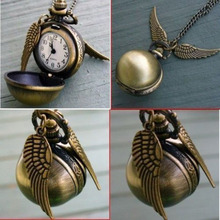 Newest Harry Potter Snitch Watch Pendant Necklace Steampunk Quidditch Wings Clock Gift for kids Cosplay Creative gifts(China (Mainland))